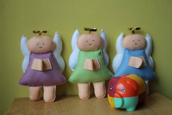 Praying angels softie hand stitched sheer wool felt by euquefiz, €20.00
