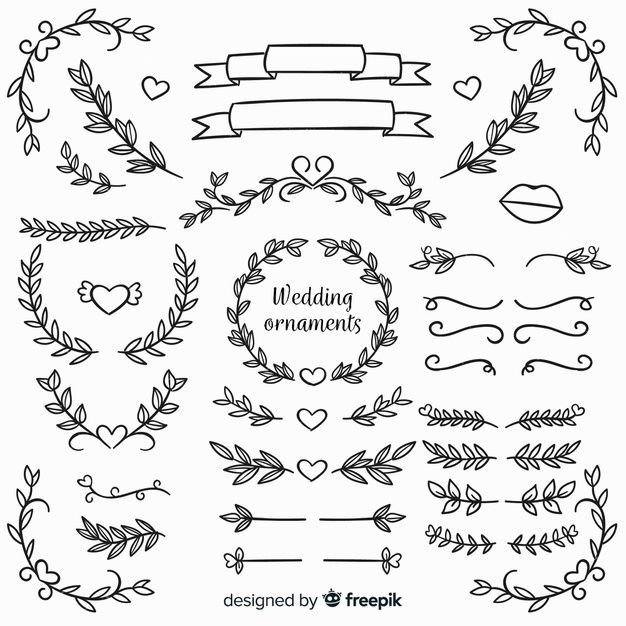 Hand Drawn Floral Wedding Ornaments Wedding Ornament Hand Embroidery Flower Designs Bullet Journal Ideas Pages