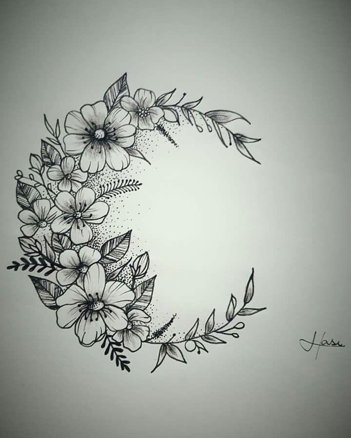 feines super Frauen Tattoo – Tattoo Mond Blume Tatuagem Lua Flores