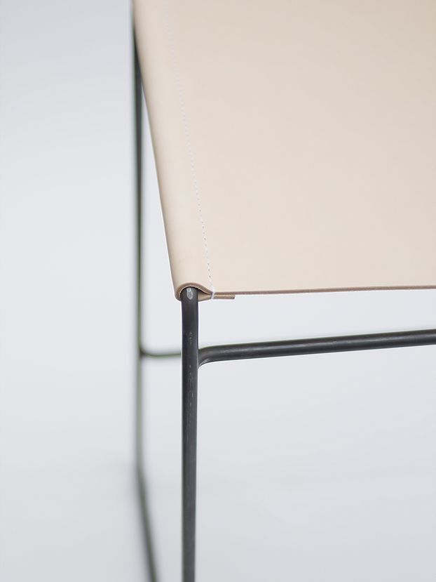 TILDA BARSTOOL - nina mair | architecture | design | austria | steel profile | handmade | round brass | naturally tanned leather | dimensions: WxLxH = 50x48x72 cm