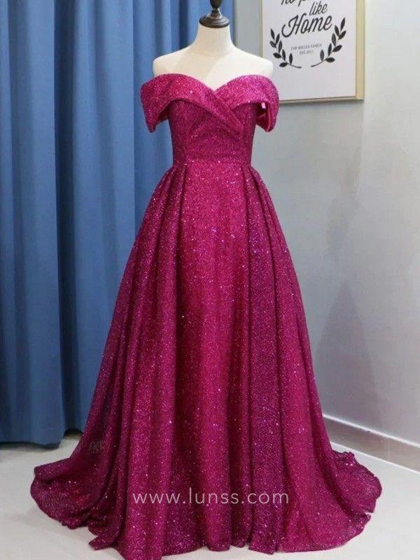 4fbfda8c120 Sparkly glistening magenta off-the-shoulder puffy floor length prom formal  dress. Pretty off-shoulder neckline formal gown. Lace up back.