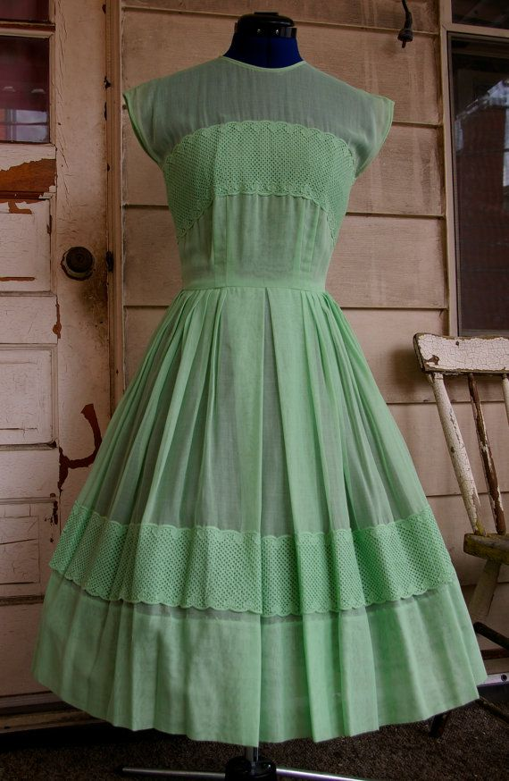 Hey, I found this really awesome Etsy listing at http://www.etsy.com/listing/156462996/vintage-1950s-sheer-mint-green-day-dress