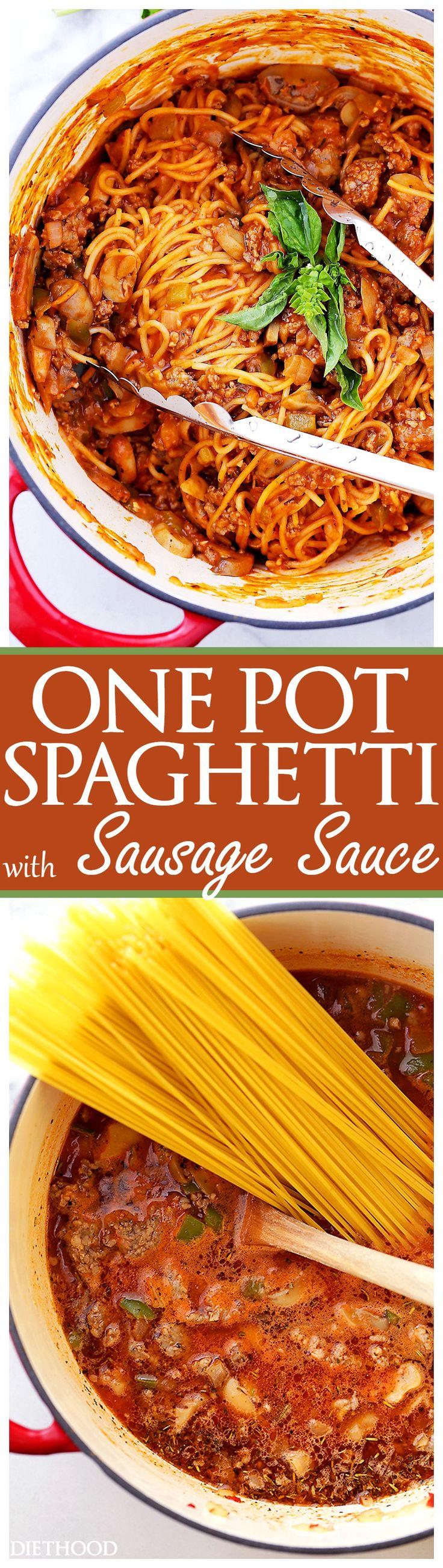 One Pot Spaghetti with Sausage Sauce Recipe - Made with pork sausage ...