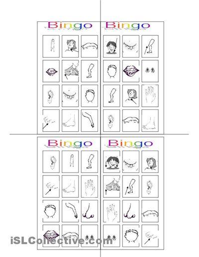 bingo worksheet free esl worksheets my body pinterest bingo. Black Bedroom Furniture Sets. Home Design Ideas