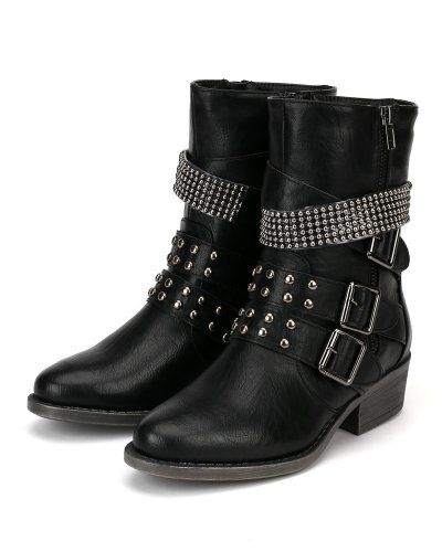 Cruise in style in this fashion bug ankle bootie with attitude! Designed with oil finish leatherette, almond toe, studded double strap on vamp, studded details at the back, studded strap on shaaft, faux zipper decor on one side, and low heel. Finished with cushioned insole and side zipper closure for easy on/off. www.fashionbug.us