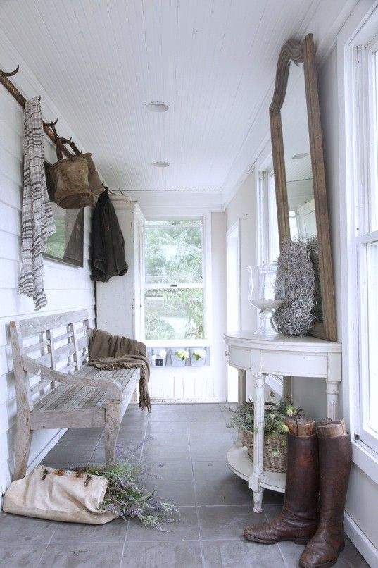 Wood accents would go great in a white mud room // mud room