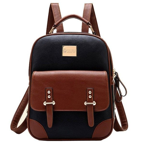 Tinksky New Arrival Korean Fashion Bag Vintage Backpack College... (£24) ❤ liked on Polyvore featuring bags, backpacks, vintage backpack, vintage bag, brown backpack, vintage rucksack and rucksack bag