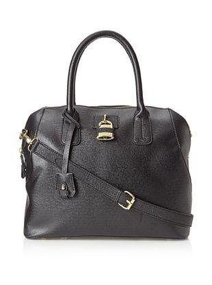 London Fog Women's Lawrence Top Handle Satchel Bag (Black)