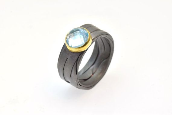 Anodized Titanium Band Ring - Recycled ring - Promise Ring, Topaz Blue Sky Gemstone, Eco Friendly Engagement ring, Alternative Promise Ring