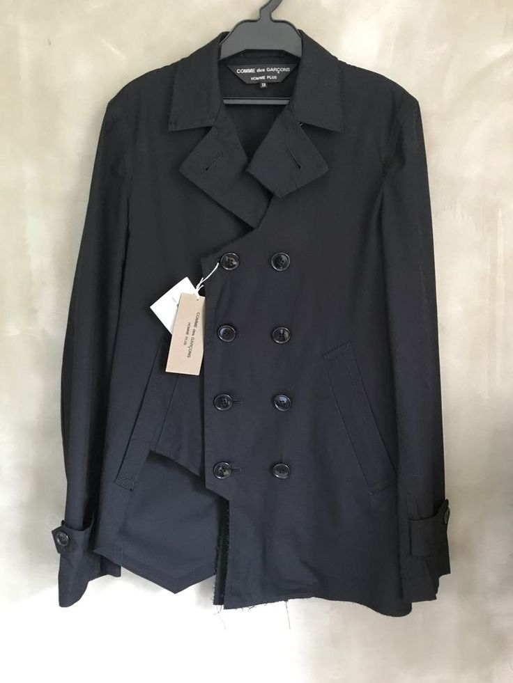 Comme des Garcons Homme Plus Japan Black Slim Punk Biker Torn Trench Jacket XS #CommedesGaronsHommePlus #TrenchJacket