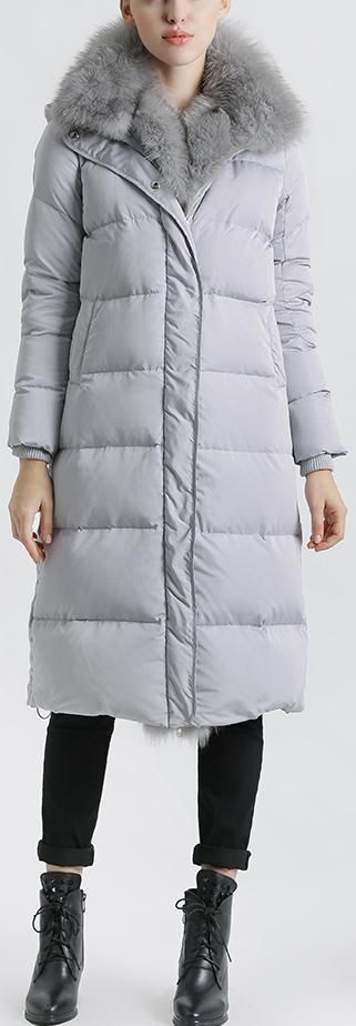 Fox Fur Trimmed Paneled Puffer Coat, Grey