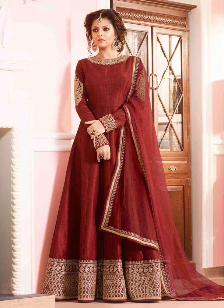Best Maroon Embroidered Designer Anarkali salwar suit