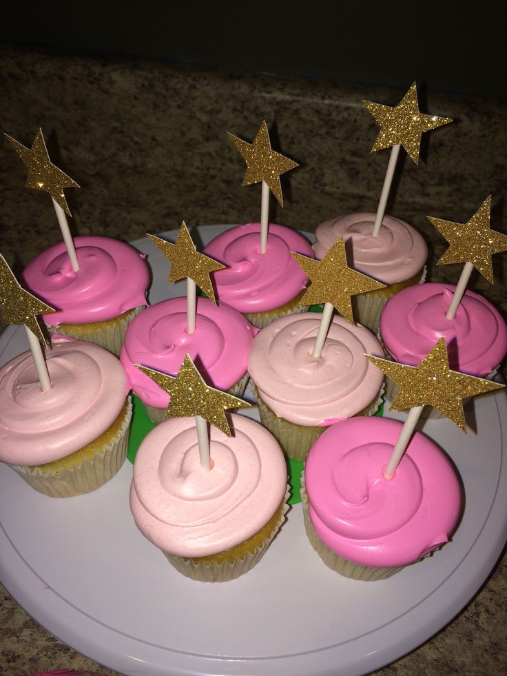 Pink Cupcakes with DIY Gold Stars | Twinkle Twinkle Little Star Birthday Party | | shopaholicandababy.com #firstbirthday