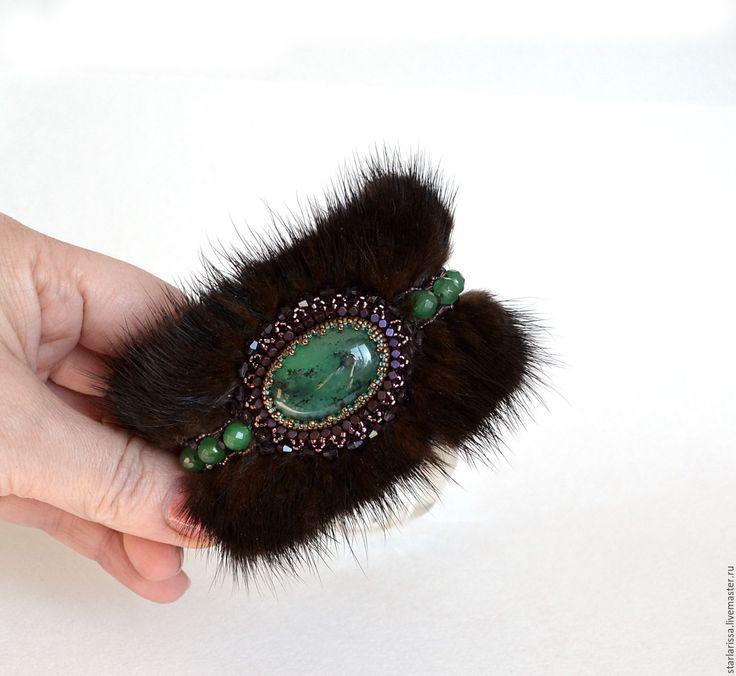 Купить браслет из норки и хризопраза - браслет с камнями, мех норки, бисерная вышивка, зима