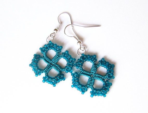 Teal Tatted lace earrings with glass beads Teal by LandOfLaces