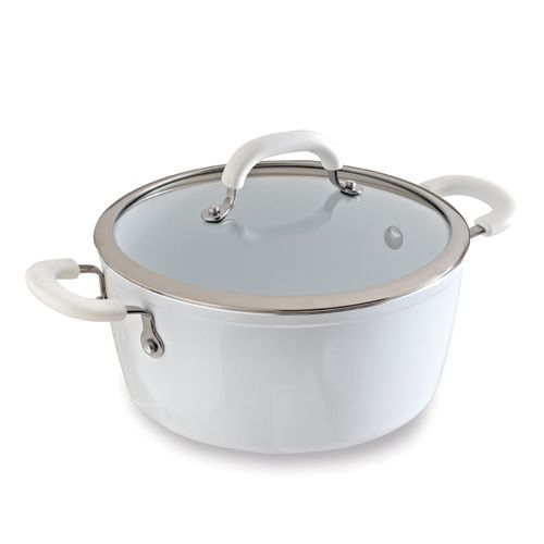 All White Ceramic Cookware 4.75-qt. Covered Casserole - The Pampered Chef®  Make heavenly stews, soups, pastas and braised meats. Goes from stovetop to oven. Includes glass lid.