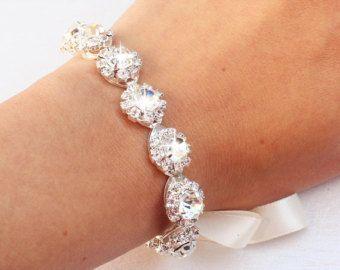 Rhinestone Bridal Cuff Ivory Wedding Bracelet by DavieandChiyo
