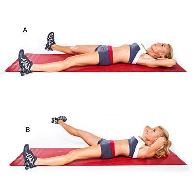 Get a Flat Belly in 4 Weeks Inner thigh crunch lift  Lie faceup with legs extended in a wide split, toes pointing up and hands resting lightly on back of head (A). Rotate right leg out, dropping toe to face outward, and raise leg (B). Using inner thigh, lower leg and return to start. Do 30 to 40 reps; repeat on other side.