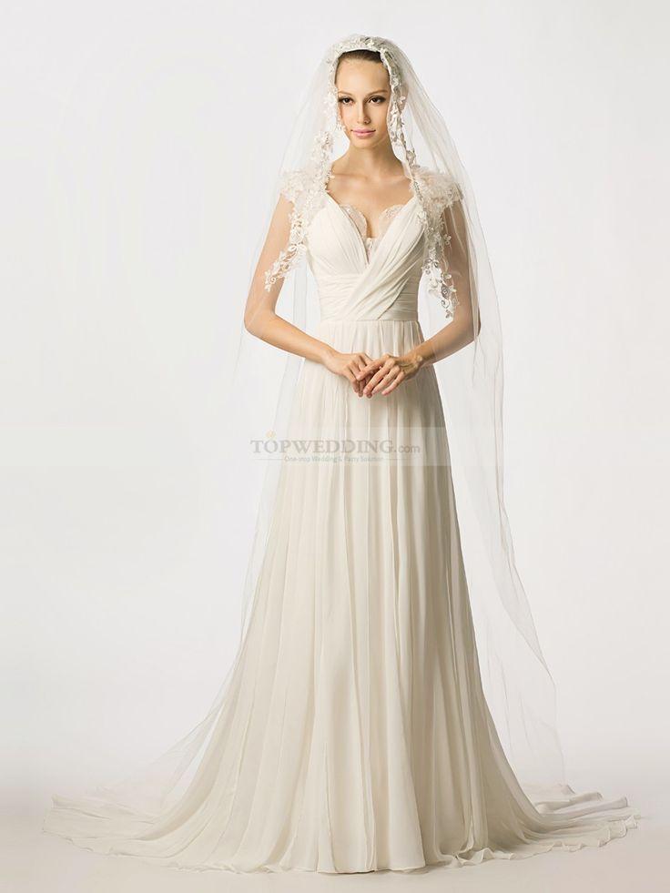 Rolleen - una línea manga gorra vestido de novia de gasa