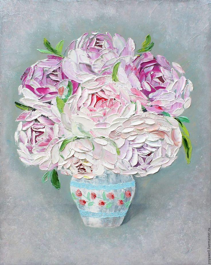 """Купить """"Пионы в вазе"""" - картина маслом с пионами в стиле шебби-шик…"""