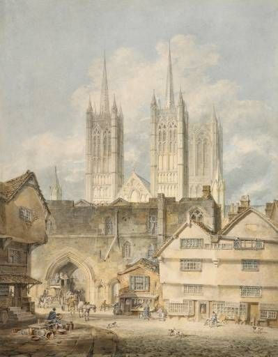 Joseph Mallord William Turner 'Cathedral Church at Lincoln', exhibited 1795 - Watercolour and graphite on paper - Dimensions Support: 446 x 348 mm - © The British Museum
