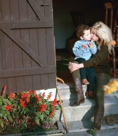 Brigitte Bardot with her son Nicholas at Bazoches, 1958 ...