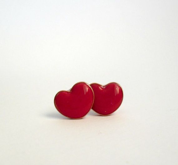 Red heart post earrings Polymer clay jewelry by DivineDecadance, $16.00