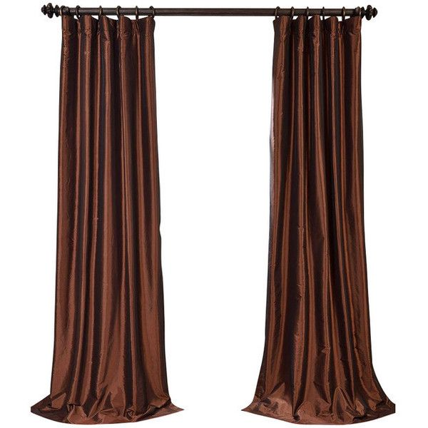 Copper Brown Blackout Faux Silk Taffeta Curtain Single Panel -... ❤ liked on Polyvore featuring home, home decor, window treatments, curtains, window, copper home accessories, window drapery, copper home decor and window coverings