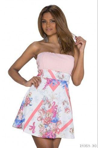 Στράπλες φλοράλ μίνι φόρεμα - Ροζ Πολύχρωμο
