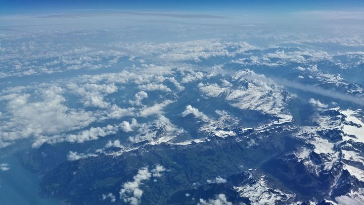 Flying home over the Swiss Alps