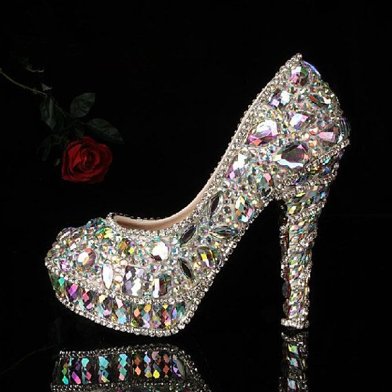 New Colorful glass slipper diamond wedding shoes,party shoes,high-heeled shoes diamond shoes,Crystal Shoes,Bridal Shoes with  Rhinestones on Etsy, $279.00