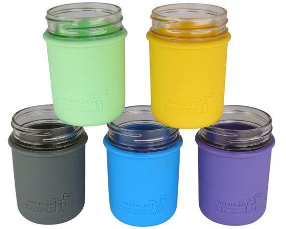 Sleeve For Regular Mouth Half Pint Mason Jar Silicone
