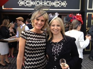 Christine Ahern channel 9 reporter with Sandy Colombo author of Superheroes eat frogs rather than kiss them - Emirates Marquee races 2012