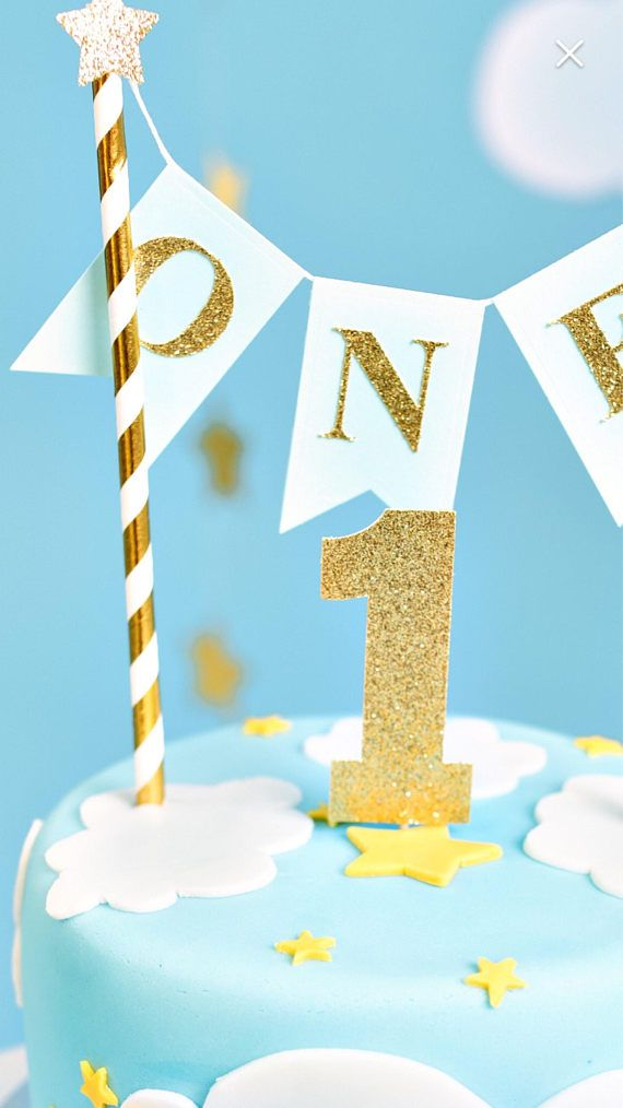 Boys 1st Birthday Cake Topper Baby Boy Is One Blue And Gold