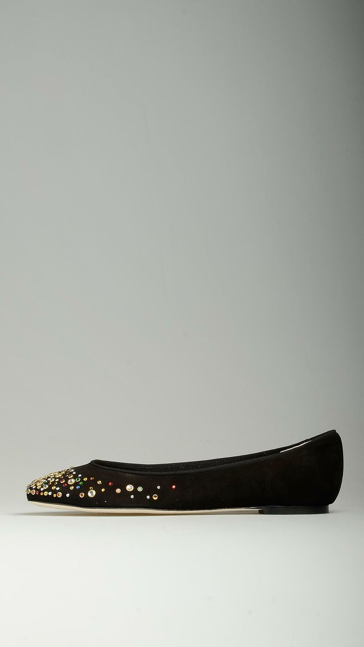 Multicolour strass embellished suede ballet pumps in black characterized by leather sole, 100% leather.