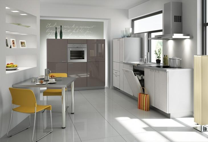 Küche in Grau Singleküche kuechen