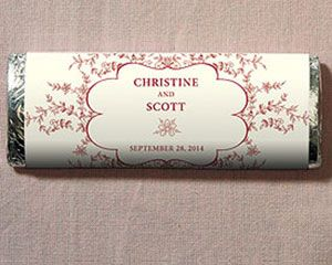 Forget Me Not Nut-Free Gourmet Milk Chocolate Bar (Set of 8). Who doesn't love chocolate! Even though these personalized chocolate bars don't contain any nuts, everyone will be nuts about them. They are available with a variety of wrapper colors that feature a delicate vintage design, which showcases your names and wedding date in the center. $15.92
