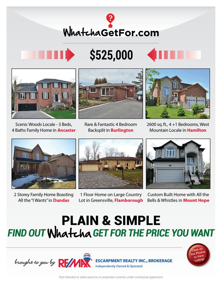 Looking for a home between $500,000 - 550,000 price point?  Check out what RE/MAX Escarpment has to offer!  If these homes are not within your price range, then check out www.whatchagetfor.com to find homes in your budget.
