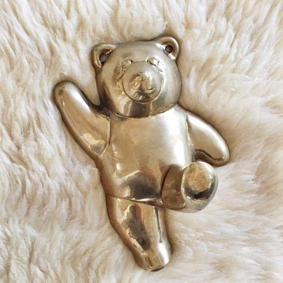 Vintage Brass Sweet Bear Hook // Mid-Century Nursery Decor