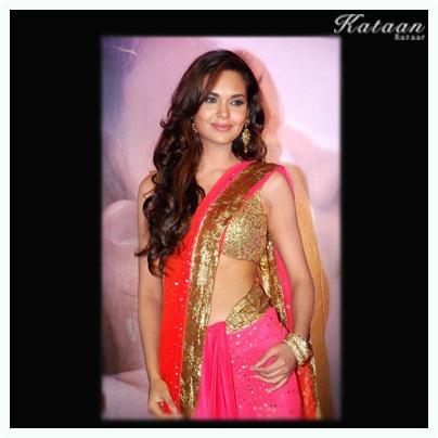 #Esha Gupta in a orange-  pink saree