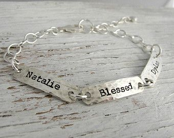 Grandmother Bracelet, Personalized, Mother's Bracelet, Hand Stamped, 2 kids names, 3 kids, 4 kids, Sterling Silver, Mother's Day Gift