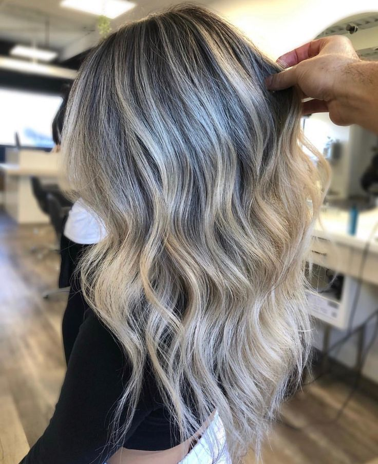 Blonde Balayage With A Soft Ashy Brown Root Love The Perfect Melt
