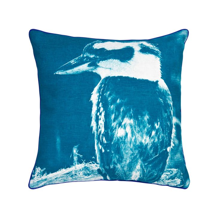 100% linen cushion hand screen printed with kookabura design in jade and zig zag design in jade on reverse, finished with blue piping (C713).  Dimensions: 50cm x 50cm (feather insert included)  Care Instructions: Remove insert and hand wash or gentle machine wash separately with gentle laundry liquid, line dry and iron on reverse whilst slightly damp. Please do not bleach, tumble dry or dry clean.  To purchase cushion without its feather insert please apply the coupon code NOFILL at…