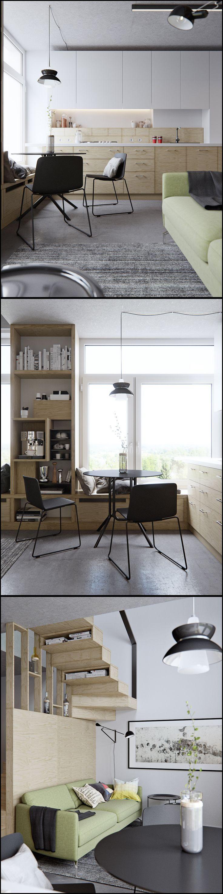 Лестница...Гостиная студия в двухуровневой квартире площадью 40 кв м - Галерея 3ddd.ru