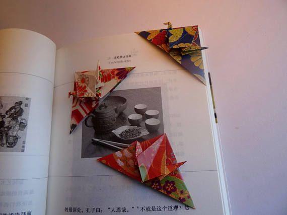 Origami Crane Bookmark/Origami Paper Corner Bookmarks/Set of 3