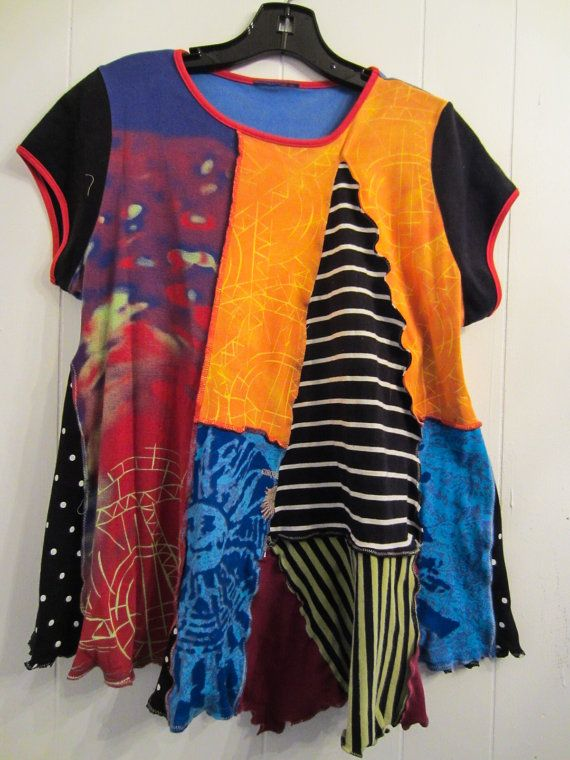 Fun Cap Sleeved Colorful Cotton Tunic fits M L XL by monapaints, $129.95
