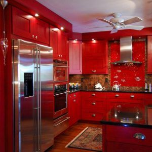 Red High Gloss Kitchen Cabinets Part 44