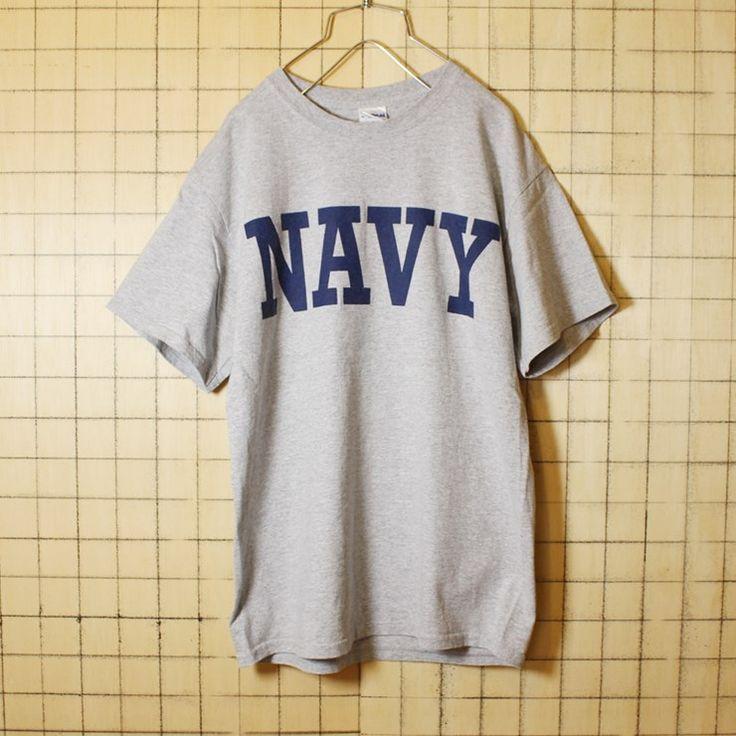 古着 霜降り 杢 グレー プリント Tシャツ 半袖 NAVY メンズM GILDAN