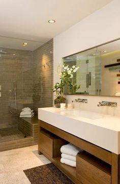 bathrooms - modern bathroom vanity double sinks frameless glass shower taupe tiles shower surround mirror Modern bathroom design with vanity,