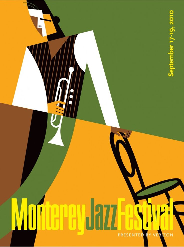 """This composition reminds me a few works that I've seen from the Art Deco movement. It almost reminds me of stained glass. The designer used a unique color scheme. The image and the title """"Monterey Jazz Festival"""" are enough to deliver the message, rather than crowding the composition with extra info."""